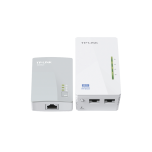 Kit Adaptador PowerLine Inalambrico 300Mbps, 2 Puertos 10/100 Mbps, HomePlug AV, Plug and Play, WiFi Clon.