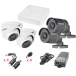 Sistema TURBO HD720p, Incluye DVR 4 ch / 2 camaras bullet interior - exterior 3.6mm / 2 camaras eyeball interior - exterior 2.8mm
